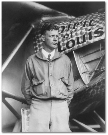 Charles Lindbergh with Spirit of St. Louis photo - Aviation Art
