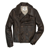 Naval Short Leather Peacoat