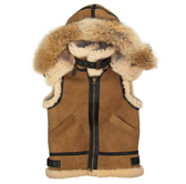 Women's Hooded B-3 Suede Vest