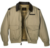 A-2 Style Jacket with Washable Leather Collar, Cotton