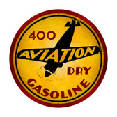 Aviation Gasoline Round Metal Sign