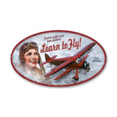 Learn to Fly Oval Metal Sign