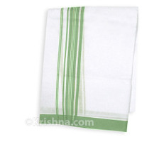 "Summer Cotton Dhoti, 1"" Simple Striped Border, Pale-Green"