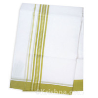 "Summer Cotton Dhoti, 1"" Simple Striped Border, Olive Green"