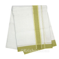 "Summer Cotton Dhoti, 1"" Simple Border, Olive Green"