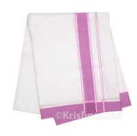 "Summer Cotton Dhoti, 1"" Simple Border, Rich Pink"