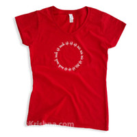 Circular Mantra Ladies' V-Neck T-Shirt, Cherry Red