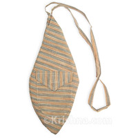 X-Large Khadi Bead Bag, Pocket, Tan & Gray
