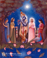 "Krishna & Gopis Under the Moon, Photo Print, 5""x7"""