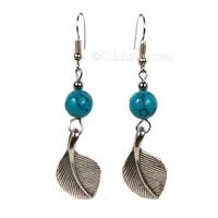 Kanupritha Leaf Earrings, Turquoise Bead
