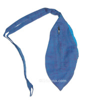 Small Silk Look Bead Bag  w/ Zipper, River Blue