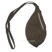 Medium Silk Look Bead Bag  w/ Zipper, Tan & Black