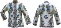 Kashmiri Embroidered Cream Silk Jacket, Blue & Gray Wisteria
