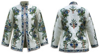Kashmiri Embroidered Cream Silk Jacket, Blue & Gray Lilies, Marked