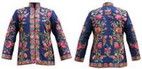 Kashmiri Embroidered Navy Silk Jacket, Orange & Pink Zinnia
