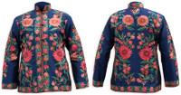 Kashmiri Embroidered Navy Silk Jacket, Orange & Rose-Pink Daisies