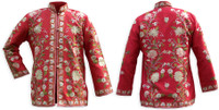 Kashmiri Embroidered Red Silk Jacket, Tan and Peach Posies