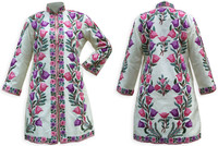 Kashmiri Embroidered Cream Silk Sherwani, Pink & Purple Tulip, Marked