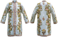 Kashmiri Embroidered Cream Silk Sherwani, Pale-Yellow & Peach, Marked