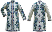 Kashmiri Embroidered Cream Silk Sherwani, Blue Mountain Flowers, Marked