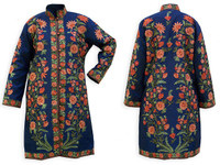 Kashmiri Embroidered Navy Silk Sherwani, Orange Blossoms