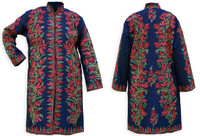 Kashmiri Embroidered Navy Silk Sherwani, Red Honeysuckle