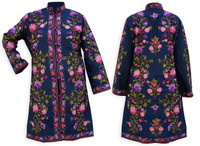 Kashmiri Embroidered Navy Silk Sherwani, Pink & Purple Zinnias