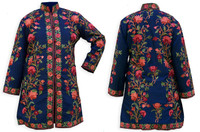 Kashmiri Embroidered Navy Silk Sherwani, Enchanted Garden