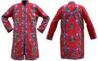 Kashmiri Embroidered Red Silk Sherwani, Blue & Lavender