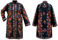 Kashmiri Embroidered Black Silk Sherwani, Pink & Orange Zinnias