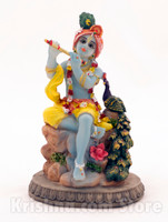Krishna with Peacock Figurine, 6""