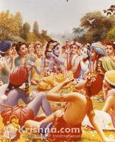 "Krishna Takes Lunch with Gopas, 8""X10"" Photo Print"