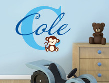personalised wall sticker for nursery with monkey