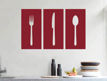 knife fork spoon wall sticker red multiple sizes