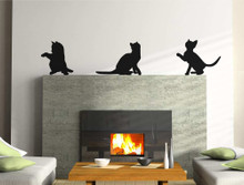cat wall stickers black
