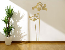 flowers wall sticker gold