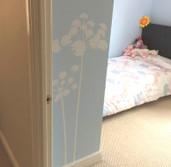 flowers wall sticker white