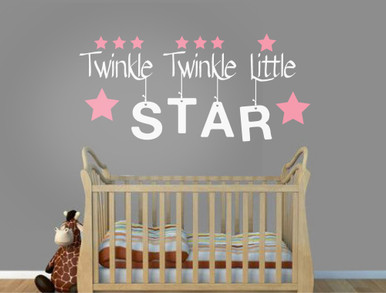 Twinkle Twinkle Little Star Nursery Rhyme Wall Sticker White Text Pink Stars Part 91