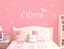 Girls butterfly name wall sticker