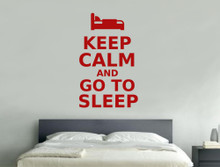 keep calm and go to sleep wall sticker red