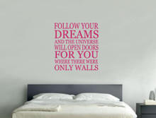 follow your dreams wall sticker pink