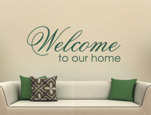 welcome to our home wall sticker green