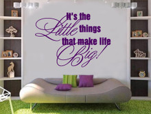 it's the little things wall quote sticker purple