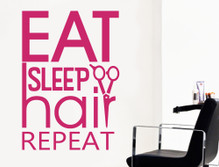 eat sleep hair repeat salon wall sticker red