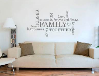 Captivating Family Word Art For Walls Sticker Grey