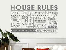 house rules wall decor sticker grey
