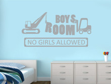 boys room no girls allowed wall sticker grey multiple sizes