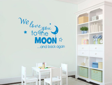 we love you to the moon and back again wall sticker blue