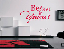 believe in yourself motivational wall sticker red
