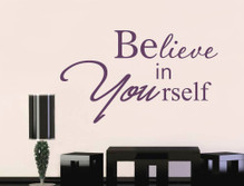 believe in yourself motivational wall sticker purple multiple sizes